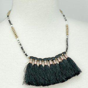 3/$25 Black tassel fan statement beaded necklace